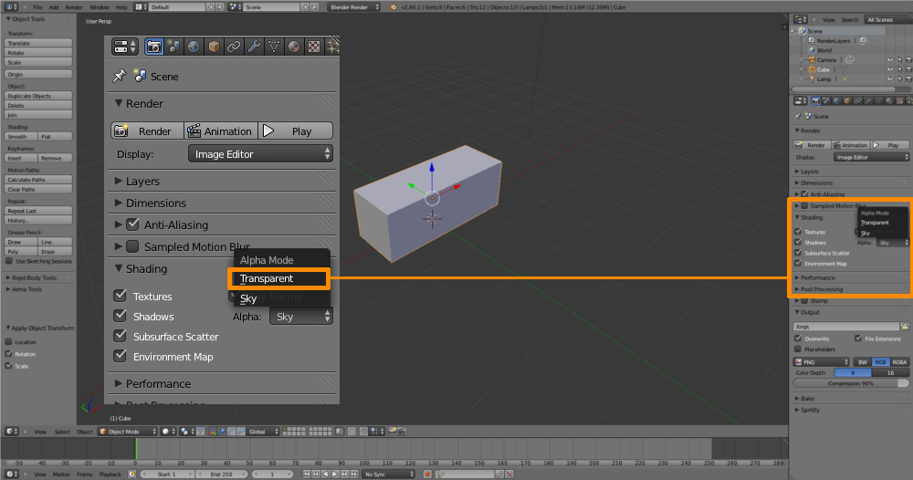 how to change blender background to transparent